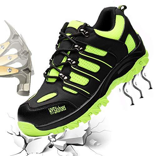 Gainow Sicherheitsschuhe Herren Damen Arbeitsschuhe Stahlkappe Schutzschuhe Leicht Atmungsaktiv Sportlich Traillaufschuhe Durchdringungskraft verhindern 1200N Hiking Trekking Schuhe (40 EU, Grün) …