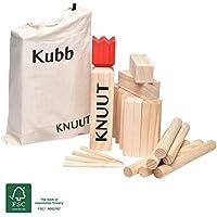 Moorland Knuut Original massives Kubb Spiel XXL - FSC® Holzspiel mit Stoffbeutel - Wikinger-Spiel Schweden-Schach Outdoor