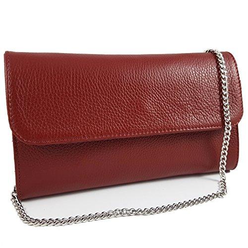 Damen Leder-clutch, Handtaschen (Freyday Echtleder Damen Clutch Tasche Abendtasche Muster Metallic 25x15cm (Dunkelrot))