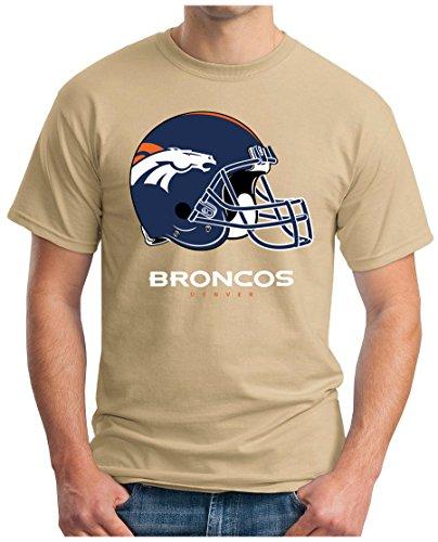 OM3 Denver Broncos - T-Shirt | Herren | American Football Shirt | Super Bowl 52 LII | NFL | S - 5XL Khaki