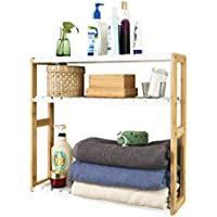 SoBuy®FRG28-WN,Estantería de pared, estantería de baño, librería, estantería de cocina de bambú, color: natural/blanco,ES