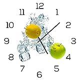 levandeo Wanduhr aus Glas 30x30cm Uhr als Glasbild Küche Zitrone Apfel Früchte Eiswürfel Deko