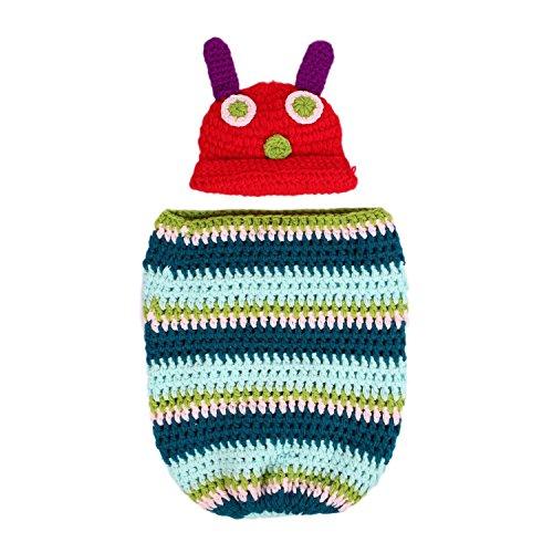 Romote Neugeborenes Baby-Mädchen-Mütze häkeln Very Hungry Caterpillar Hat Cocoon Set-Partei-Kostüm Foto ()