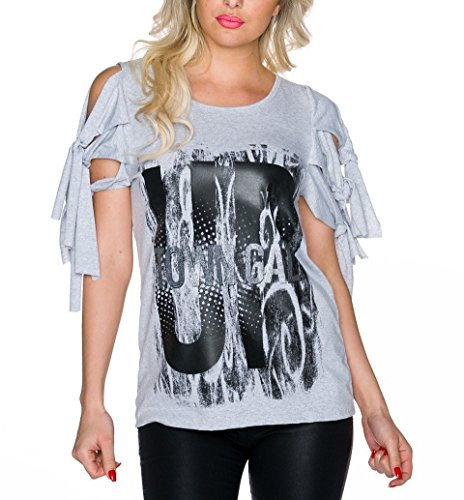 Crazy Party-Shirt mit offenen Ärmel Grau