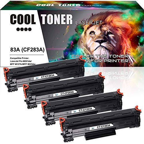 Cool Toner 4 Packs Kompatibel für 83A CF283A Toner Tonerkartusche für HP Laserjet Pro MFP M128fn M125a M125nw M127fn M225dn M225dw, HP Pro M201n M201dw Laserdrucker, 1500 Seite