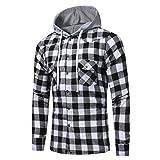 Tefamore Hommes Manche longue Treillis imprimé Sweat à capuche à carreaux Sweat à capuche Tops Chemisier (XL, Noir)