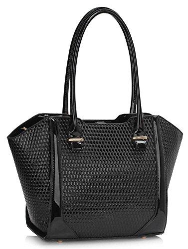 LeahWard® Damen nett Groß / Übermaß Schultertaschen Damen Tote Essener-Tasche Käufer Handtaschen 00473-Schwarz (32x14x30.5cm)