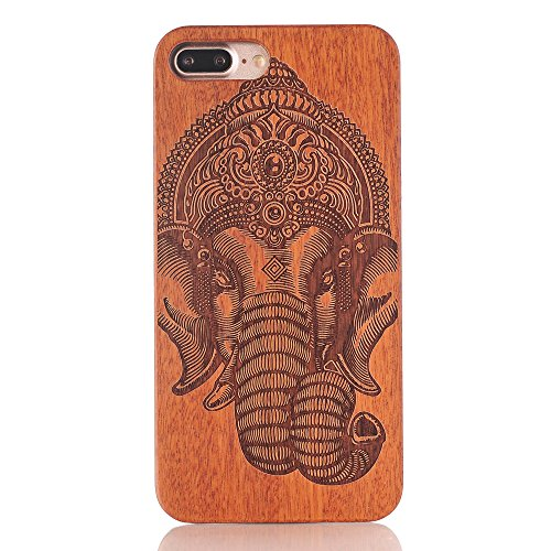 iPhone 7/8 4.7inch wooden Case, Soundmae Real Wooden Handmade Unique Pattern Carving Wood With Hard Plastic Back Skin Case Cover For iPhone 7/8 4.7inch[Mandrake] Elephant