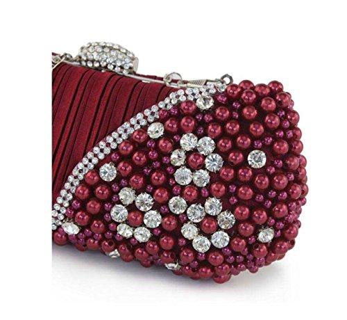 Signore Il Sacchetto Del Pranzo Di Diamanti Borsa Delle Signore Perla Cellulare Cosmetici Bag Beige