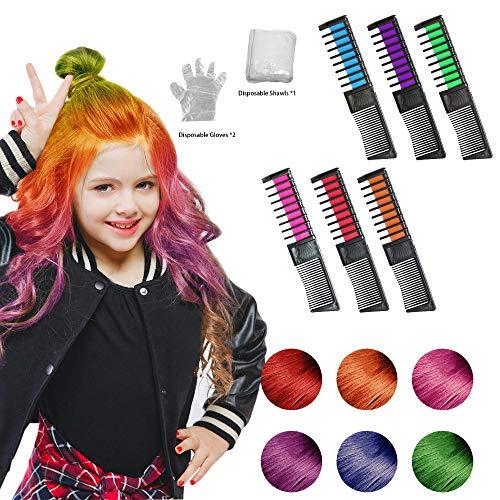 r Haarfarbe Kreide Kamm 6 Stück, Mini Instant Einmalige Haare Kreide Kamm Ungiftig Haarfarbe mit Handschuhe und Schal für Kinder Haarfärbemittel, Party und Cosplay DIY ()