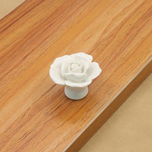 Interesting® 1Pcs Keramik Vintage Floral Rose Türgriffe Griff handgefertigten Rose Griffe Keramik Küche Tür Schrank Schublade Knauf zieht (Post Zieht Schublade)