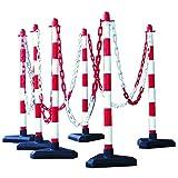 MORAVIA Kettenständer-Set aus Kunststoff mit betongefülltem Kunststofffuß, rot/weiß, 175.16.146