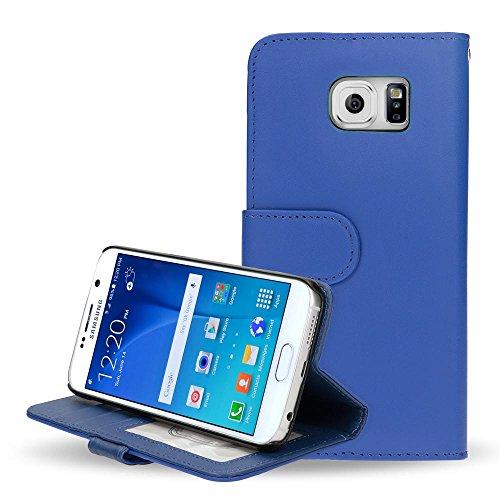 Samsung Galaxy S6 Hülle Klapphülle von NICA, Slim Flip-Case Kunst-Leder Vegan, Phone Etui Schutzhülle Book-Case, Dünne Vorne Hinten Handy-Tasche Wallet Bumper für Samsung S6 Smartphone - Blau