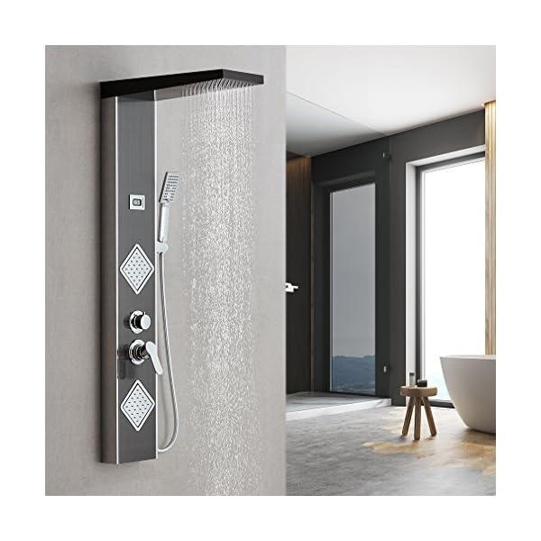 Auralum – Columna de Hidromasaje Ducha Negro Multifoctionnel con Pantalla LCD Panel de Ducha Hidromasaje Acero…