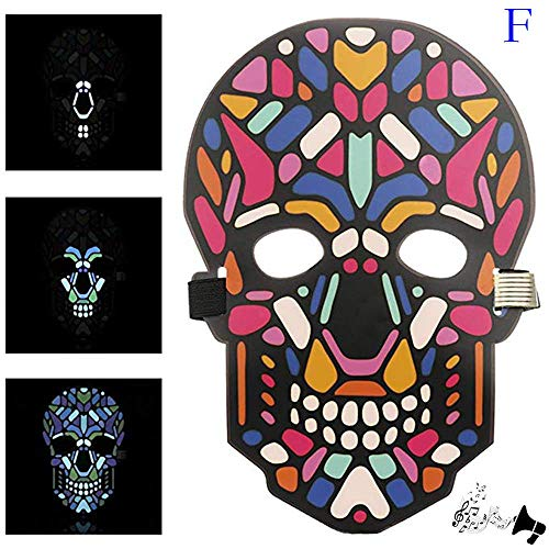 YUYOUG_Halloween Mask kreativ, Halloween-Klang-Reaktiv, Vollgesicht, LED-Beleuchtung, Tanz, Rave EDM Plur Party, Festival, Party, Cosplay, LED Licht up Maske Zubehör Grimace Maske, F, Einheitsgröße