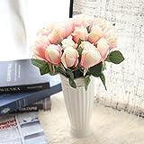 Longra Wohnaccessoires & Deko Kunstblumen Künstliche Rose Silk Blumen 5 Blüte Blatt Garten Dekoration DIY Rosa Blume (10C: 6PC)