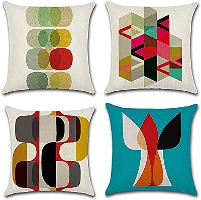 4pcs 18X18(geométrico manta decorativa fundas de almohada cuadrado algodón de lino sofá fundas de cojín hogar nórdicos fundas de almohada