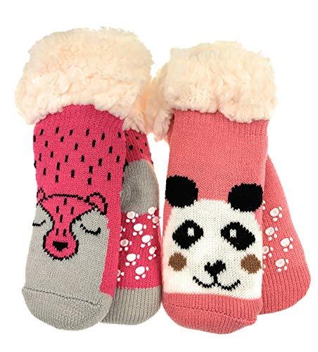 2 Paar Baby Hütten Socken Kinder Home Socks mit Teddyfutter Kuschelsocken Lammfellimitat ABS-Sohle (5553, 0-12 M, Seit 2)