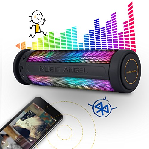 MUSIC ANGEL ® tragbarer kabelloser WLAN Lautsprecher mit Bluetooth 4.0 wireless Stereo 2400mAh Akku für 8 Stunden 5 LED Modus und innenpolitische Mikrofon für Indoors/Outdoors/Schauen (farbig) -