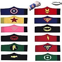 LMYTech Pack de 12 Pulseras de Superhéroe para Niños Brazalete de Fieltro de Superhéroe / Superhero Slap Pulsera / Superhéroes Fiesta de Cumpleaños Suministros