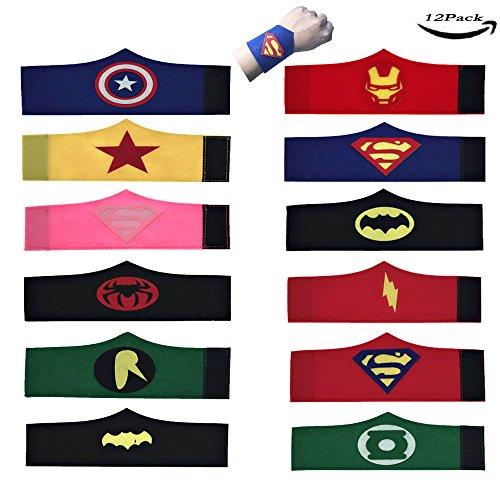 LMYTech 12 Stück Superhelden Set Superhero Armband / Superhero Slap Bands / Superhelden Party Supplies