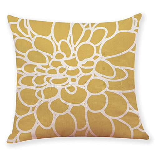 Kissenbezug Kissenhülle 45x45 cm Ronamick Gelbe Art Kissenbezüge Weich Sofakissen Gedruckt Zierkissen Sofa Bett Home Decorative (D) - Gelbe Quadrat Kissen