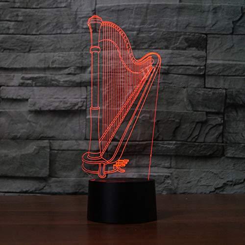 Werewtr 3D Night Light Harfe Modellierung 3D NachtlichtElektrische Illusion 3D Lampe Led 7 Farbwechsel Usb Touch Schreibtischlampe Für Geschenk Des Kindes