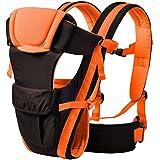 My Newborn Original 4 Way Cotton Carrying Position Baby Carrier with Waist Belt, Orange