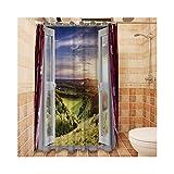 AnazoZ Anti-Schimmel Duschvorhang inkl. 12 Duschvorhangringe PEVA Waschbar,Wasserdicht Anti-Bakteriell Badewanne Vorhang für Badzimmer - Stil 4 180x200cm