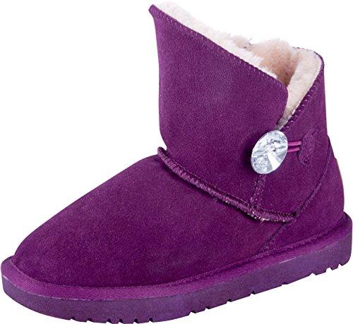 Lammfell-leder-mini (Almwerk Damen Winter-Stiefel Boots kurzschaft aus Echtleder warm gefüttert in verschiedenen Farben, Größe:39, Farbe:Lila)