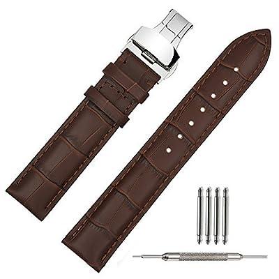 Correa de piel reloj de 20mm negro suave w/broche de despliegue hebilla reloj Band pulsera de repuesto 18mm 19mm 20mm 21mm 22mm