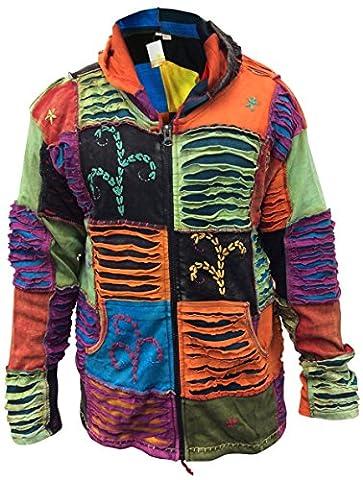 SHOPOHOLIC FASHION Mens Patchwork Ripped Hippie Hoodie jacket(XL)