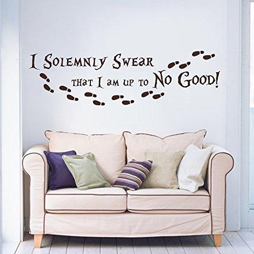 """I solennemente swear I am up to no good Harry Potter da parete in vinile con citazione con impronte Adesivo In Vinile Da Parete (Nero, 10""""H X34W)"""