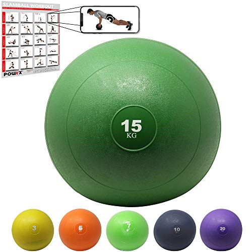 POWRX Slam Ball Balón Medicinal 15 kg - Ideal Ejercicios