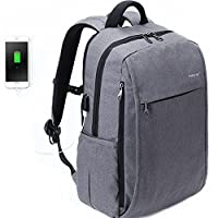 Fubevod Business Laptop Backpack 15.6 16 Inch with USB Charging Port Lightweight Computer Rucksack Grey