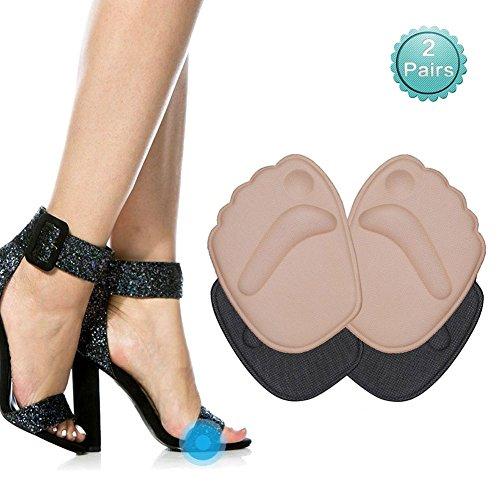Doact High Heels Einlegesohlen(2 Paar) Soforthilfe bei Vorfuß für die Frauen, Fit zu Tragen in High Heels-Ballenpolster Optimal bei zu Großen oder zu Harten Schuhen (Beige +Schwarz) (Tanzen Schuhe Stiefel)