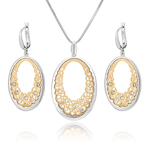 346a39392f44 Lilly Marie Mujer Plata Juego de joyas plata colgante de oro ovalada Gallay Original  Swarovski Elements