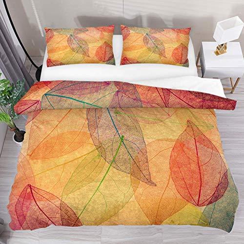Soefipok Bettwäsche-Bettbezug-Set Vintage Rainbow Leaf gedruckt Tröster-Set mit 2 Kissenbezügen 3 Stück weich, 1 Bettbezug mit 2 Kissenbezügen -