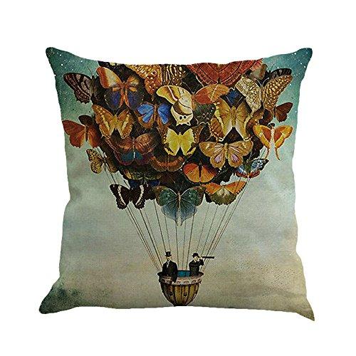 Beonzale Schmetterling Malerei Leinen Kissenbezug Wurf Taille Kissenbezug Sofa Home Decor