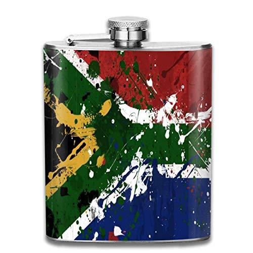 Flachmann aus Edelstahl, südafrikanische Flagge, auslaufsicher, für Herren, tragbar, für Alkohol, Whisky, Rum und Wodka