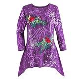 VEMOW Heißer Elegante Damen Plus Size Oberteile Winter Festliche Wasserfall Weihnachten Unregelmäßige Lässige Tägliche Party Lose Hem Bluse Top(X1-Violett, EU-44/CN-L)