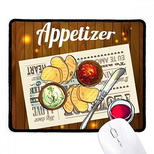 DIYthinker Appetizer Scheibe Brot Wein Griffige Mousepad Spiel Büro Schwarz Titched Kanten Geschenk