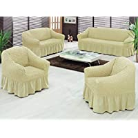 Hours Sofa Covers Set Turkey 4 Pieces Beige - 107770800017
