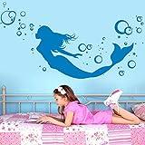 """Wandtattoo Loft """"Meerjungfrau mit Blubberblasen"""" - Wandtattoo / 49 Farben / 3 Größen / weiß / 55 x 113 cm"""