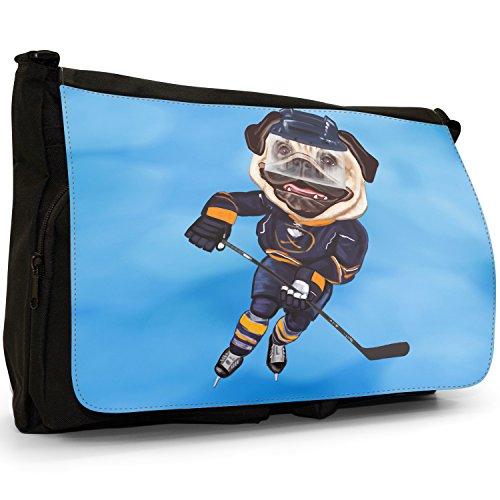 Eishockey Mops mit Schlittschuhen & Schläger Große Messenger- / Laptop- / Schultasche Schultertasche aus schwarzem Canvas