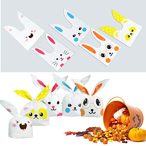 ARTMOVA 100 Pezzi Sacchetti Compleanno,Sacchetto per Caramella Confetti Borsa di Regalo Sacchetto Coniglietto di Forma del Coniglio Sacchetti di Biscotto - 2