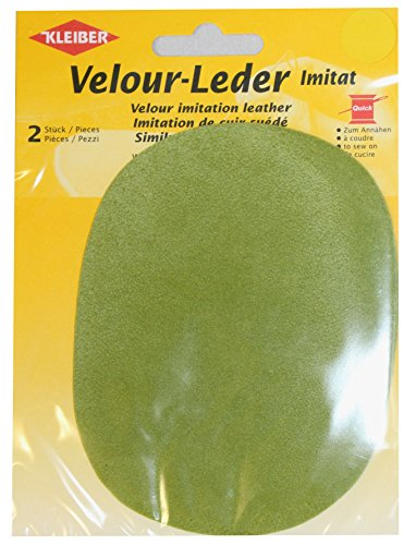 Kleiber - Toppe ovali da cucire su ginocchia/gomiti 12,5 x 10 cm in similpelle scamosciata, verde mela