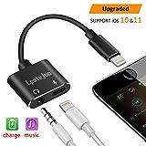 Lightning auf 3,5mm Kopfhörer-Adapter, lpoiejun 3,5mm Kopfhörer Audio + Charge Lightning Adapter für iPhone X, iPhone 8/8Plus, iPhone 7/7Plus und iPhone 6, Unterstützung iOS 11/10, (schwarz)