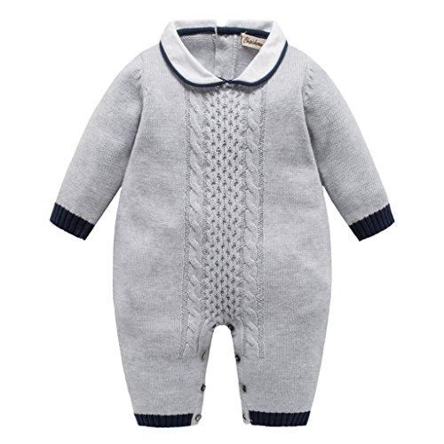 Bebé Peleles de Punto Ropa de Invierno Mamelucos Algodón Jumpsuit Prendas de punto Trajes, Gris 12-18 Meses