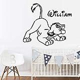 Lion King Autocollant Mural Stickers Le Roi Lion Personnaliser Votre Nom Vinyle Autocollant Pour Les Chambres D'Enfants Decor Art Mural Mur Amovible